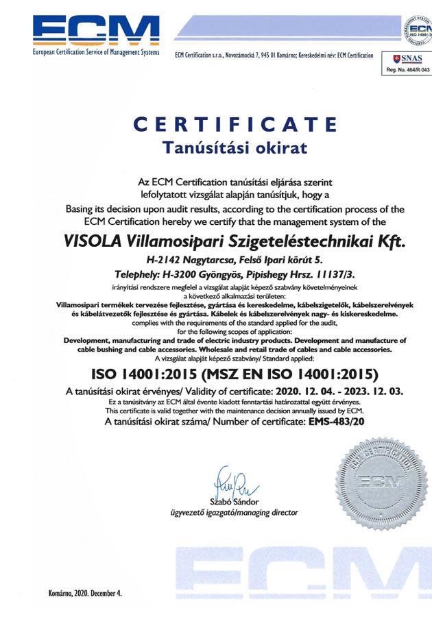 MSZ EN ISO 14001:2015 EMS-483/20