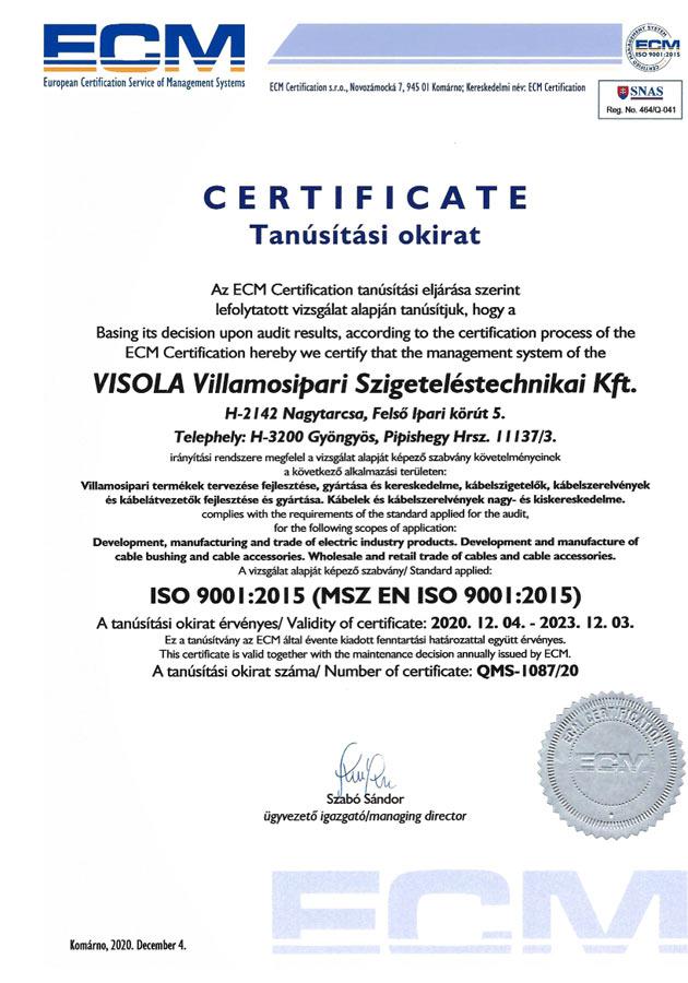 MSZ EN ISO 9001:2015 QMS-1087/20
