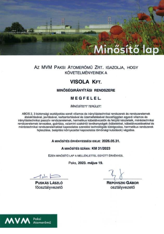 Paks NPP certification KM 33/2020